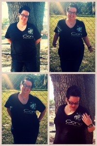 "Michelle ""Meiguogirl"" Turner wearing a Conde Couture custom t-shirt. (Photo: Shauna Louis)."