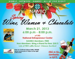 ORLANDO), Florida (March 21, 2013) Flyer announcing the details of the Wine, Women, and Chocolate networking event. (Photo via: NAWBO Orlando).