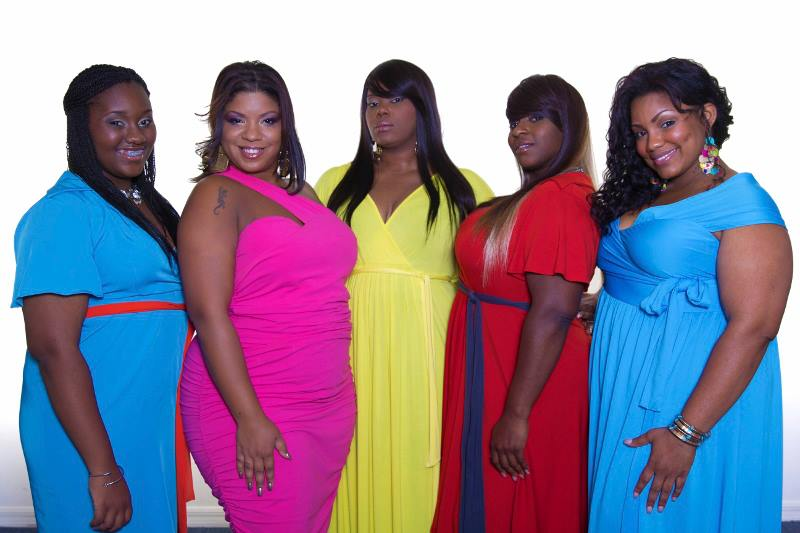 The ladies of La Physique at their recent Sears.com photo shoot - from left to right: Jourdan Challenger, Asia Marin, La Physique Owner & Designer Rheba Turnbull, Latasha Barnes-Blackmon, and Crystal Ingram. (Photo: Courtesy of La Physique Plus Sized Fashions).